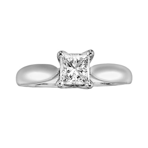 Cherish Always Princess-Cut Diamond Solitaire Engagement Ring in 14k White Gold (5/8 ct. T.W.)