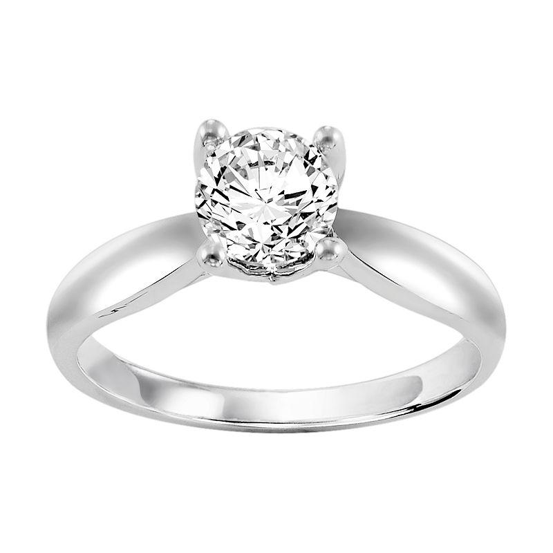 Cherish Always Certified Diamond Solitaire Engagement Ring in 14k White Gold (1 Carat T.W.)
