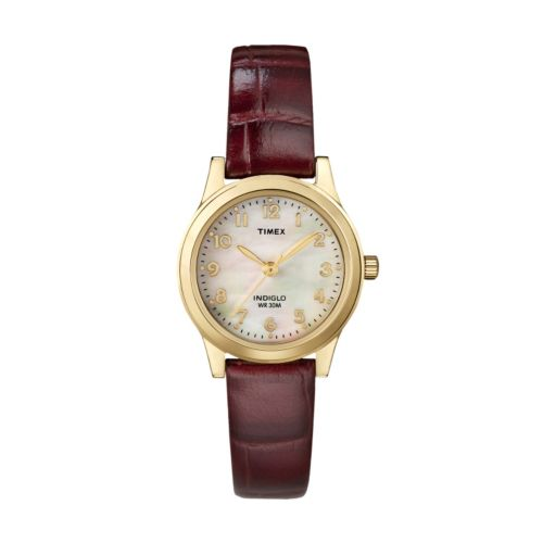 Timex Gold Tone Mother-of-Pearl Leather Watch - T21693 - Women
