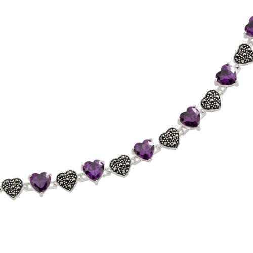 Sterling Silver Amethyst and Marcasite Heart Bracelet