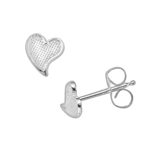 K'Dorable Sterling Silver Heart Stud Earrings - Kids