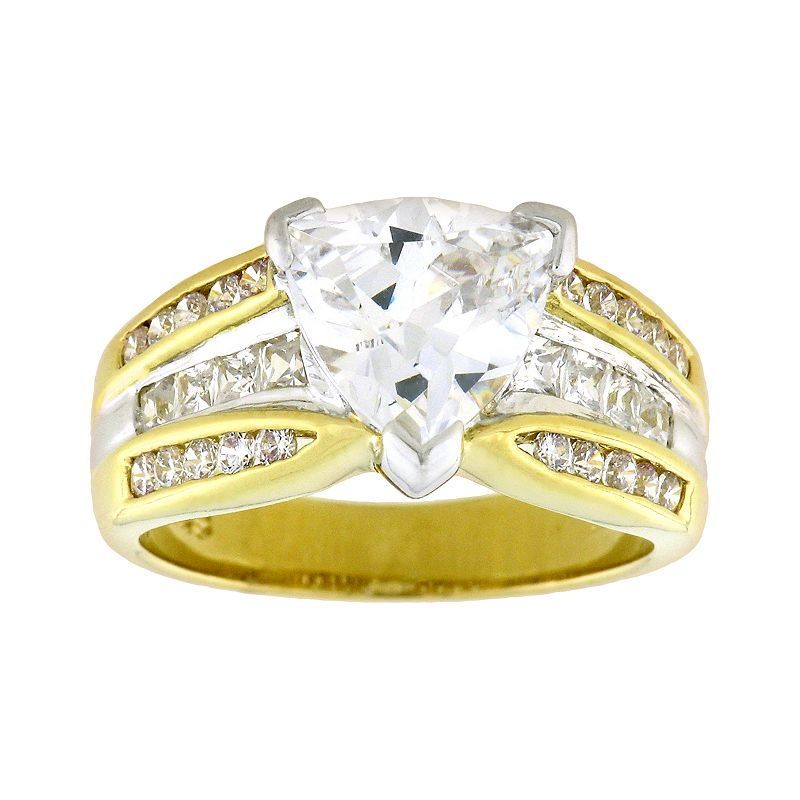 Diadore 18k Gold-Over-Silver and Sterling Silver Cubic Zirconia Ring
