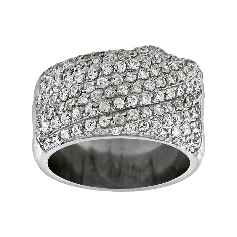 Diadore Sterling Silver Cubic Zirconia Swirl Ring