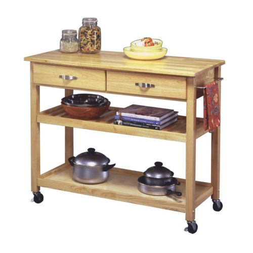 Wood-Top Kitchen Cart
