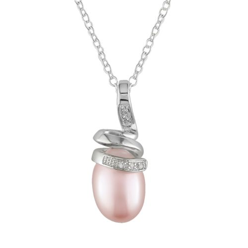 Sterling Silver Dyed Freshwater Cultured Pearl and Diamond Accent Pendant