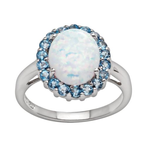 Sterling Silver Lab-Created Opal and Blue Topaz Ring