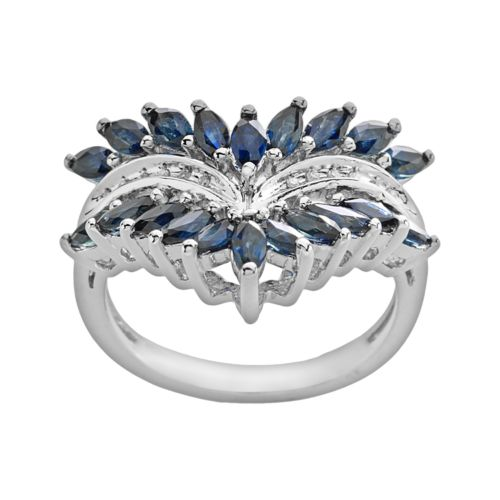 Sterling Silver Sapphire and Diamond Accent Ring
