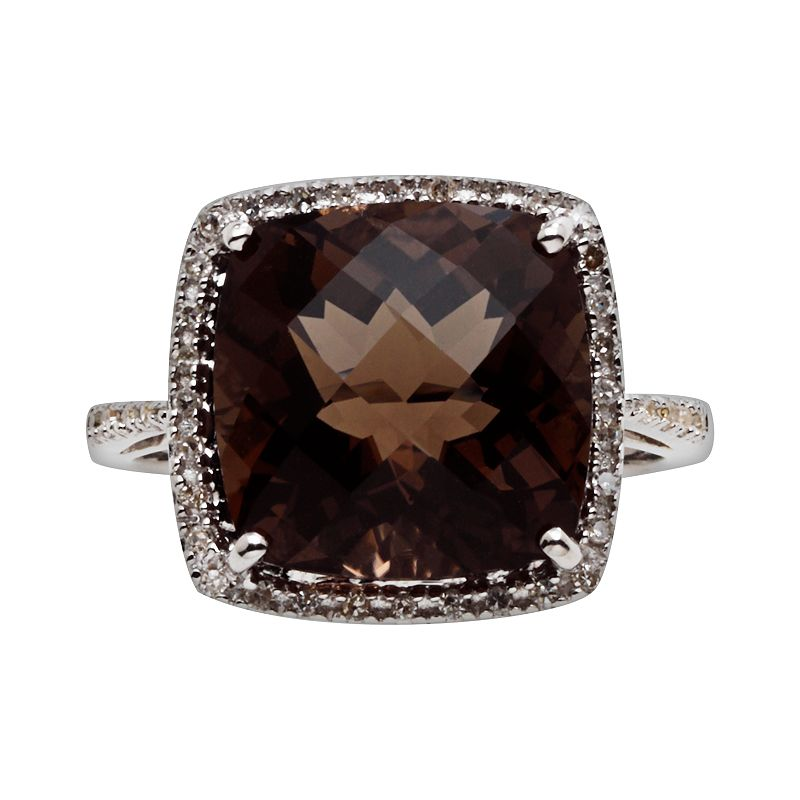 Sterling Silver Smoky Quartz and Diamond Accent Ring