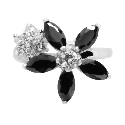 Silver Tone Cubic Zirconia Floral Ring