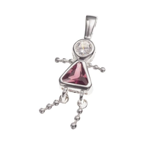 Sterling Silver Birthstone Babies Girl Charm