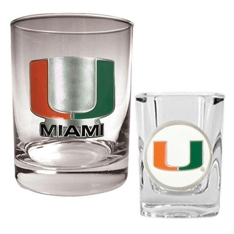 Miami Hurricanes 2-pc. Rocks and Shot Glass Set