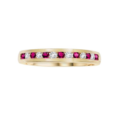 Cherish Always 10k Gold 3/8-ct. T.W. Certified Round-Cut Diamond and Ruby Wedding Band