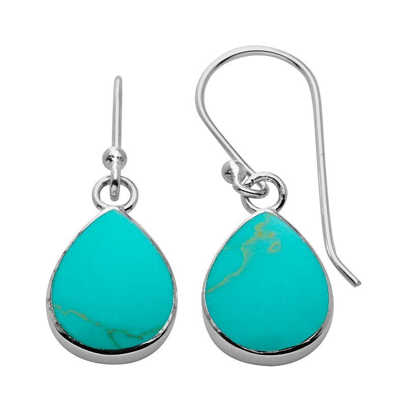 Sterling Silver Reconstituted Turquoise Teardrop Earrings