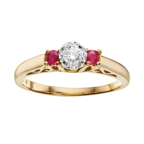 Cherish Always Certified Diamond and Ruby Engagement Ring in 10k Gold (1/7 Carat T.W.)