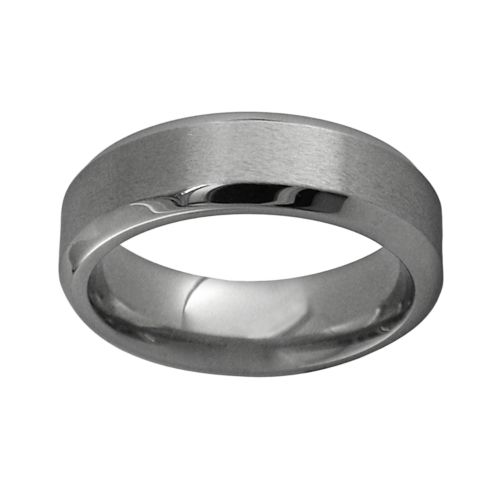 STI by Spectore Gray Titanium Beveled Wedding Band - Men