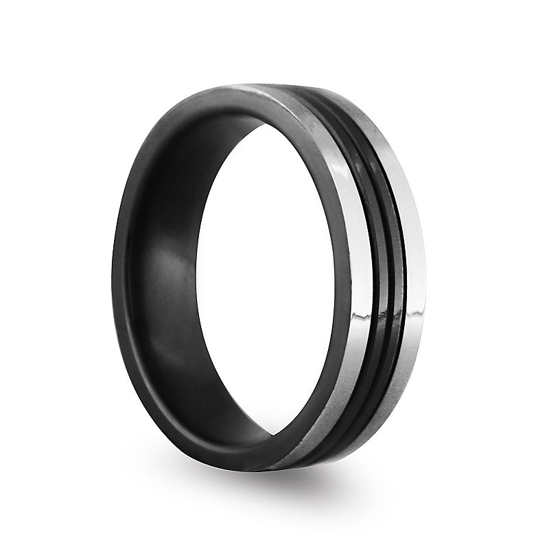 STI by Spectore Black and Gray Titanium Striped Band Ring