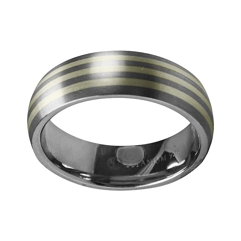 STI by Spectore Gray Titanium and Sterling Silver Stripe Wedding Band - Men