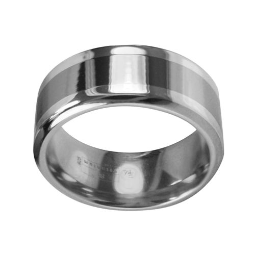 STI by Spectore Gray Titanium and Sterling Silver Striped Wedding Band - Men