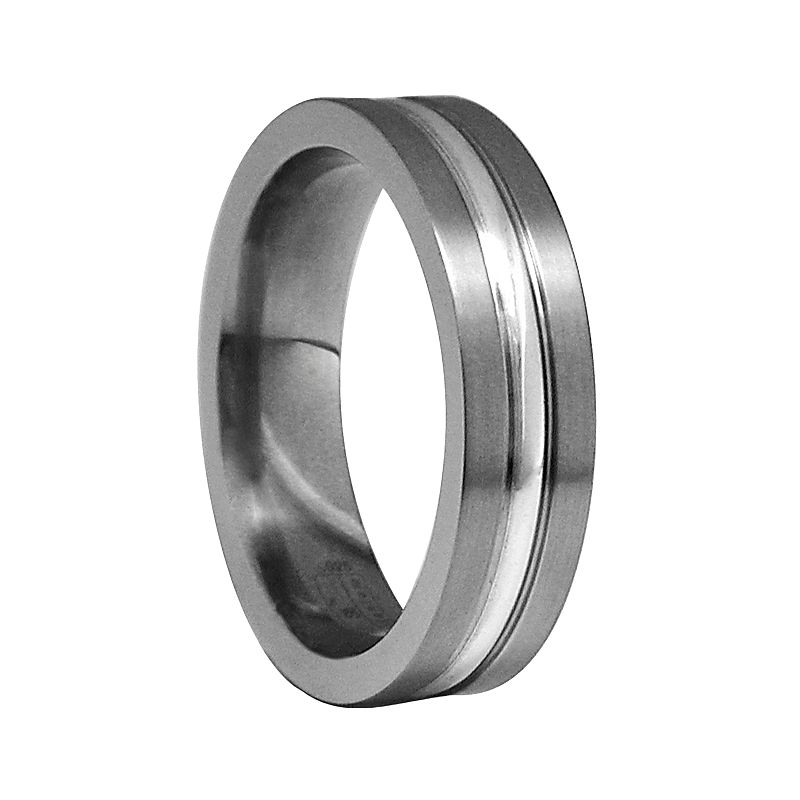 STI by Spectore Gray Titanium and Sterling Silver Striped Band Ring