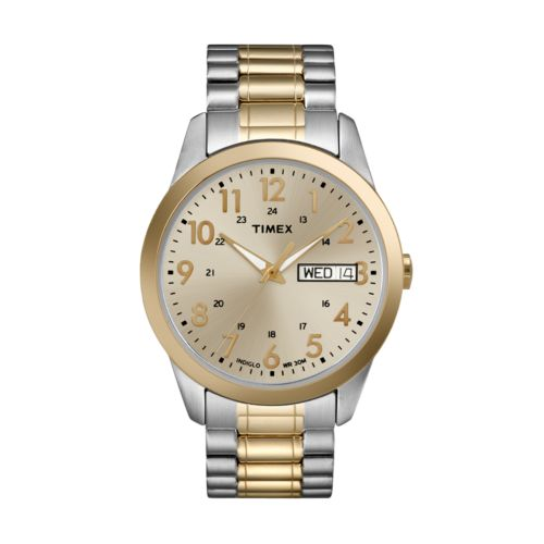 Timex Indiglo Stainless Steel Two Tone Expansion Watch - Men