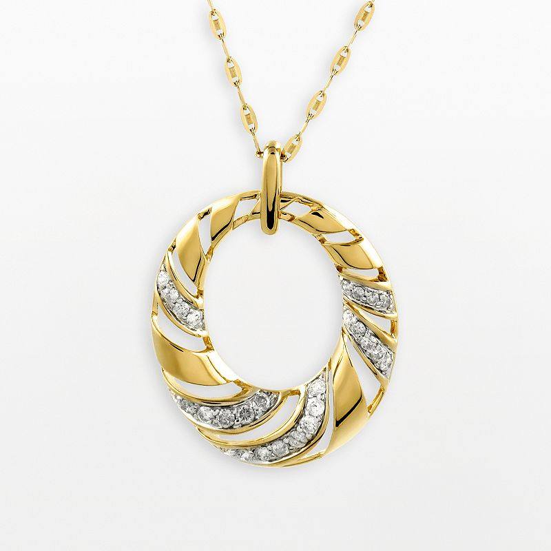 14k Gold 1/2-ct. T.W. Diamond Oval Swirl Pendant