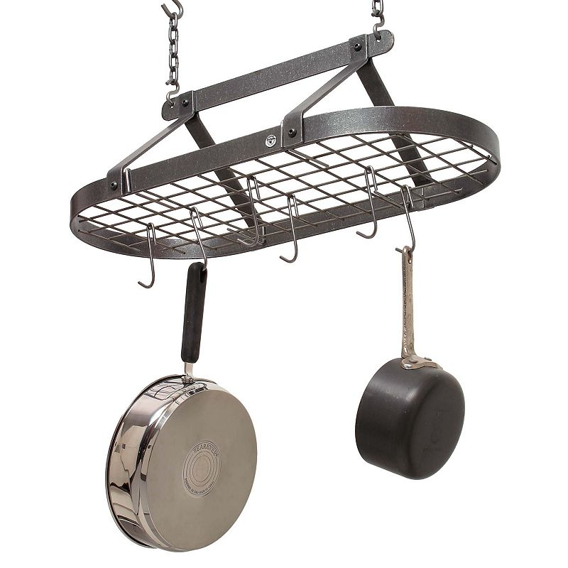 Enclume Decor Classic Oval Hammered Steel Pot Rack