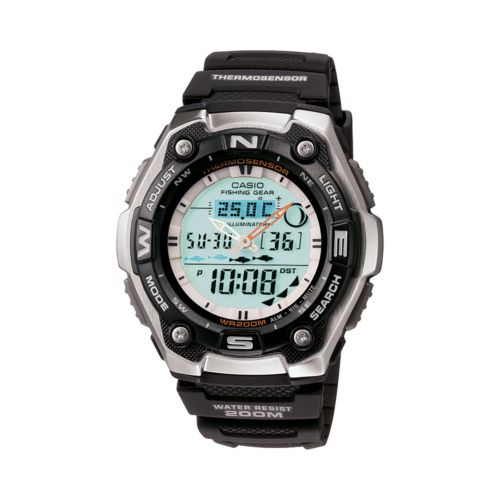 Casio Watch - Men's Sports Gear Black Resin Analog and Digital Chronograph Fishing