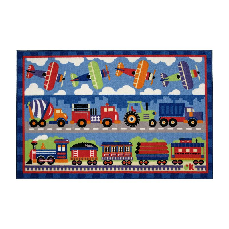 Fun Rugs Olive Kids Trains, Planes and Trucks Rug - 3'3'' x 4'10''