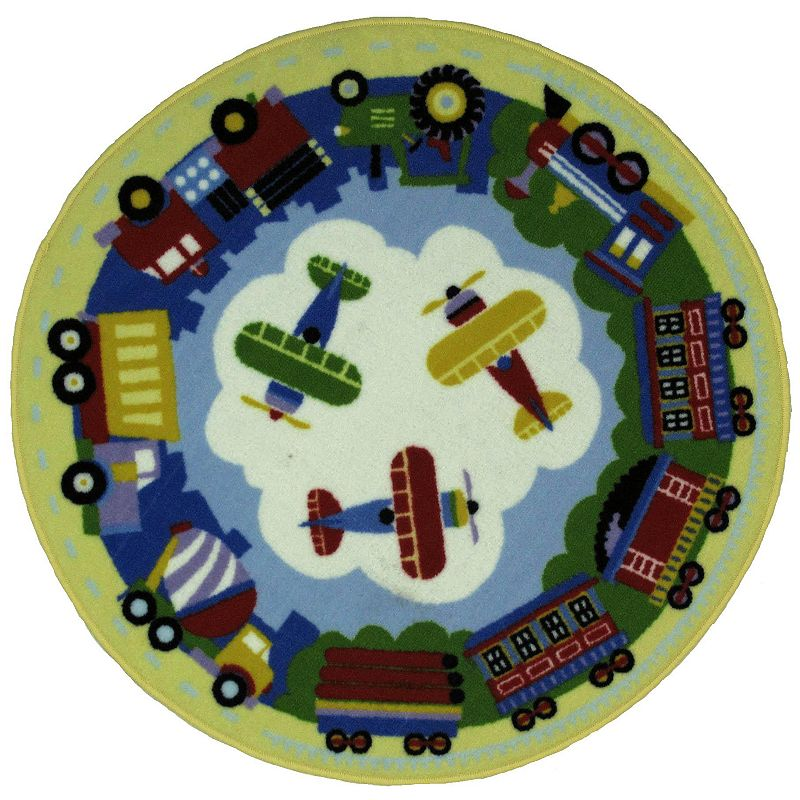 Fun Rugs Olive Kids TPT Train and Plane Rug