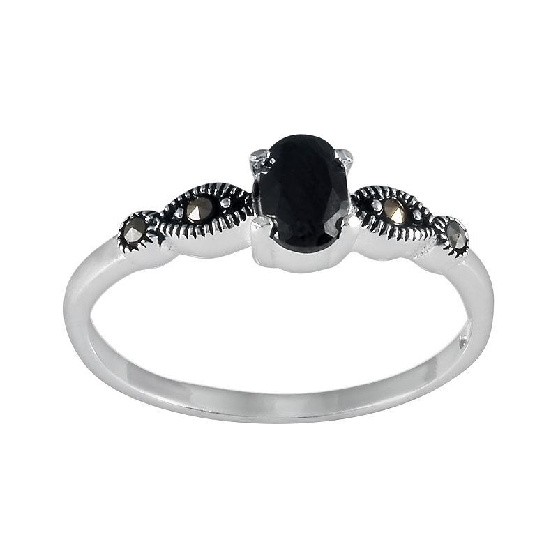 Sterling Silver Black Cubic Zirconia Ring