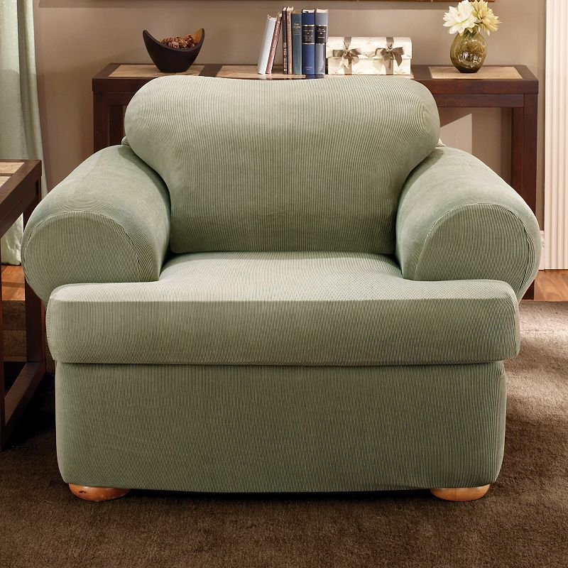 Sure Fit Striped T-Cushion Chair Slipcover