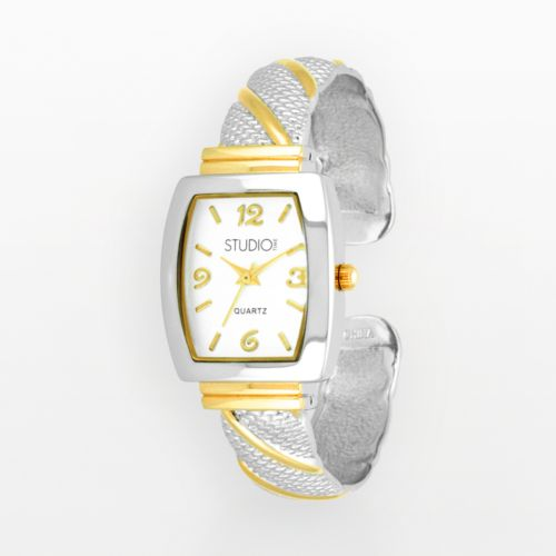 Studio Time Two Tone Striped Textured Bangle Watch - Women