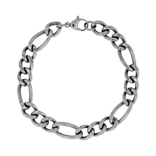 Stainless Steel Figaro Bracelet - Men
