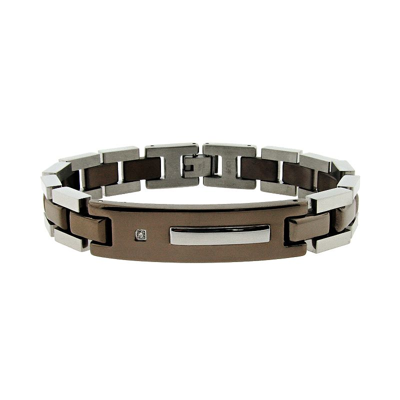 Stainless Steel Diamond Accent ID Bracelet