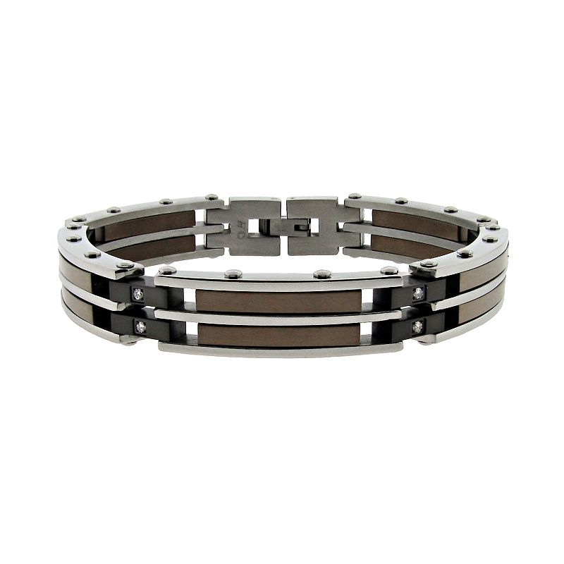 Stainless Steel Diamond Accent Link Bracelet