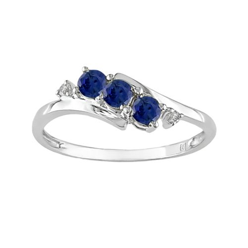 10k White Gold Lab-Created Sapphire and Diamond Accent Bypass Ring