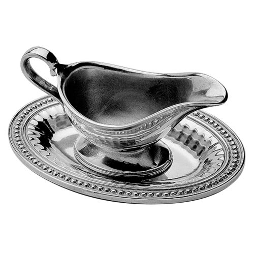 Wilton Armetale Flutes and Pearls Gravy Boat and Tray