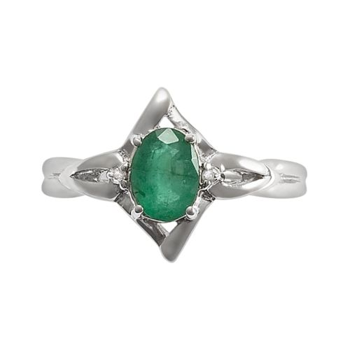 Sterling Silver Emerald and Diamond Accent Star Ring