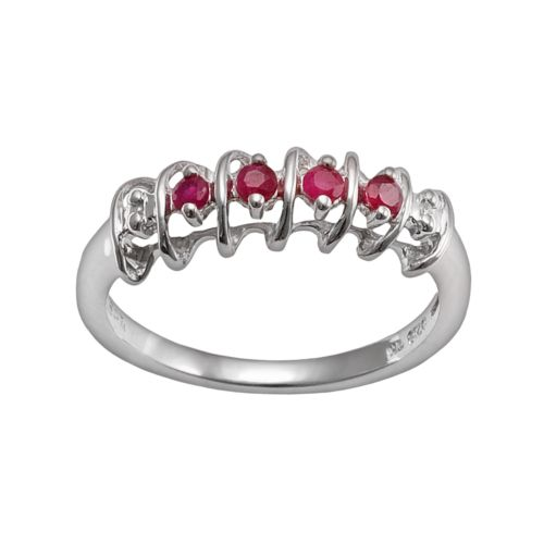 Gem Sensations Sterling Silver Ruby and Diamond Accent Twist Ring