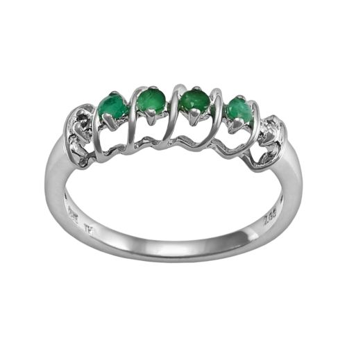 Gem Sensations Sterling Silver Emerald and Diamond Accent Twist Ring