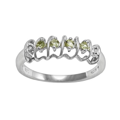 Gem Sensations Sterling Silver Peridot and Diamond Accent Twist Ring
