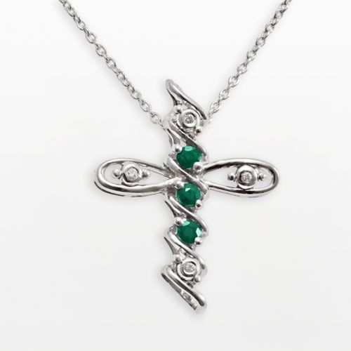 Gem Sensations Sterling Silver Emerald and Diamond Accent Cross Pendant