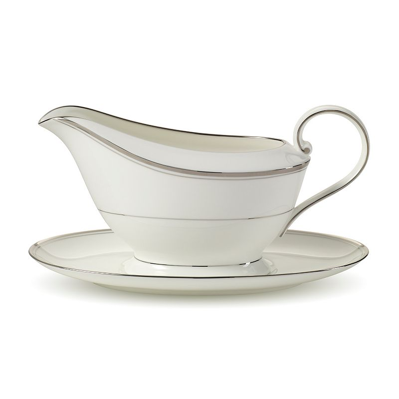 Mikasa Gothic Platinum Gravy Boat and Saucer Set