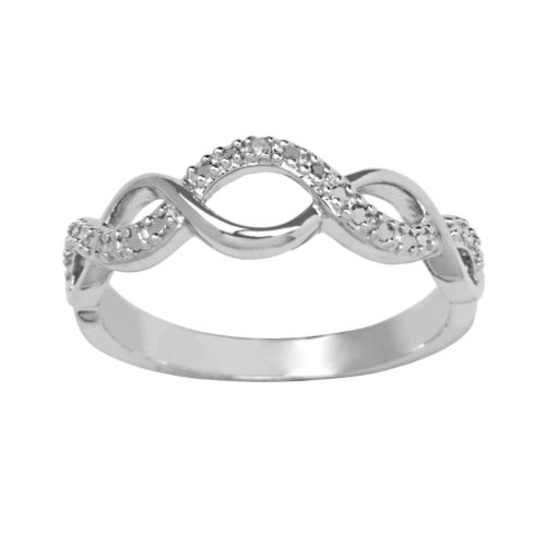 Sterling Silver Round-Cut Diamond Accent Infinity Ring