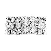 Franco Gia Silver Tone Simulated Crystal Stretch Ring