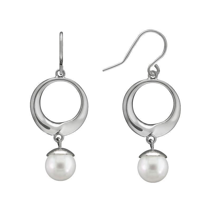 Sterling Silver Freshwater Cultured Pearl Hoop Drop Earrings