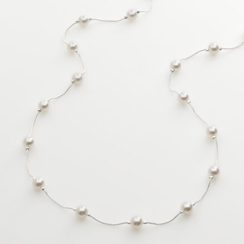 Croft & Barrow® Silver Tone Simulated Pearl Long Necklace