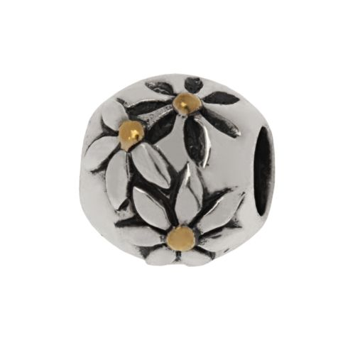 Individuality Beads 24k Gold-Over-Silver and Sterling Silver Floral Bead