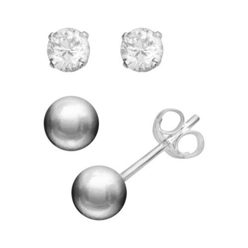 Silver Silver Cubic Zirconia Stud Earring Set
