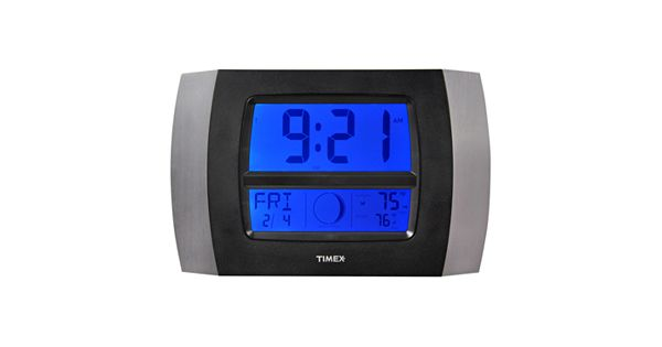 Timex wireless weather and atomic digital wall clock - Digital illuminated wall clocks ...